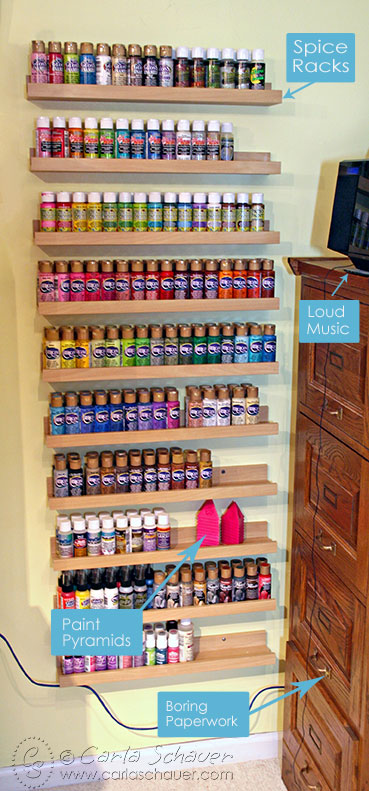 Acrylic paint storage using picture ledges-Carla Schauer Design Studio