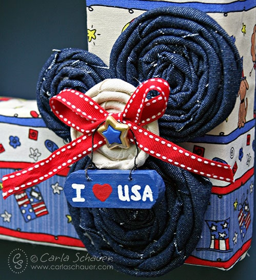 Denim and canvas flowers on patriotic wreath from Carla Schauer Designs