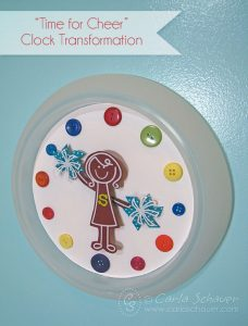 Cheer themed clock DIY from Carla Schauer Designs