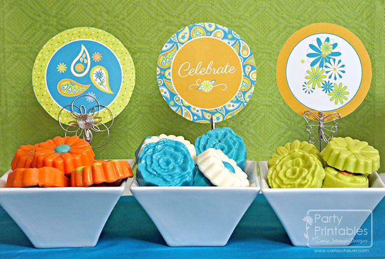 Daisies & Paisleys Printable Party Kit 4 in circles-by Carla Schauer Designs
