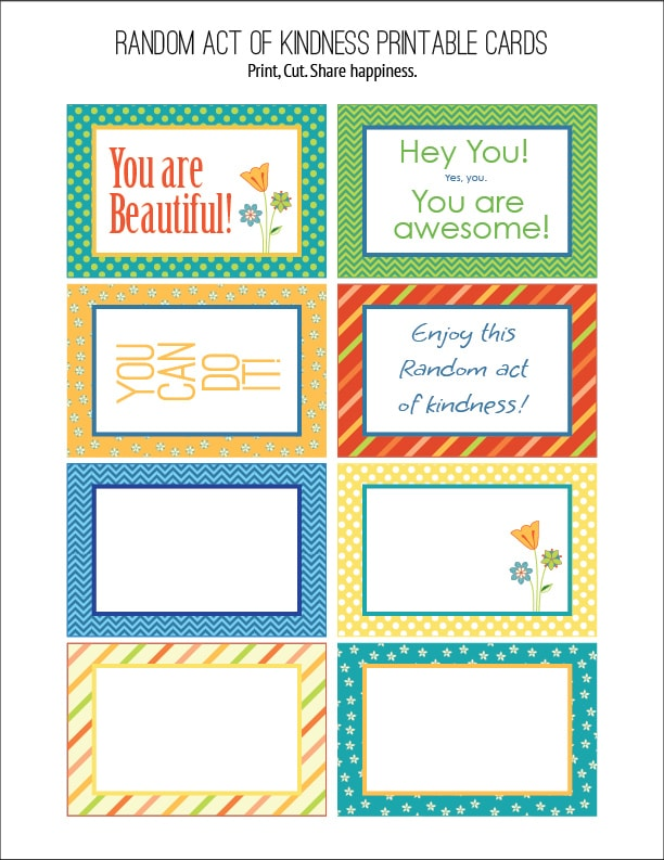 photo relating to Kindness Cards Printable called Random Act of Kindness No cost Printables Carla Schauer Plans