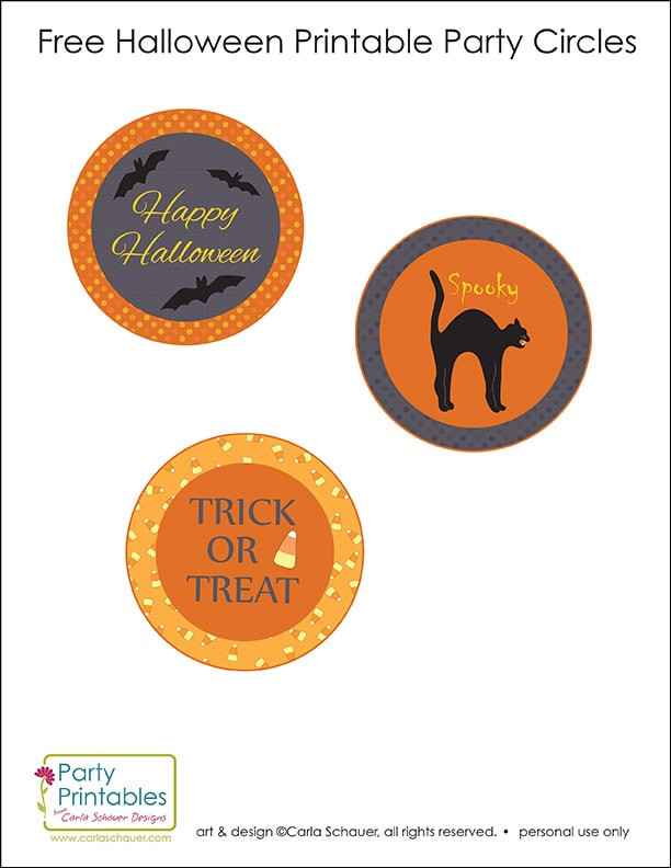 Free Printable Halloween party circles from Carla Schauer Designs