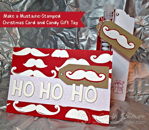 Mustache stamped christmas card and tag set from Carla Schauer Designs