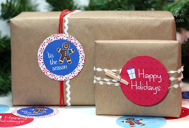 "Free Printable Holiday Gift Tags from Carla Schauer Designs. Cute 2"" gingerbread man circles."