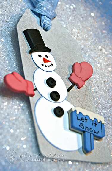 Quick snowman gift tag with buttons from Carla Schauer Designs