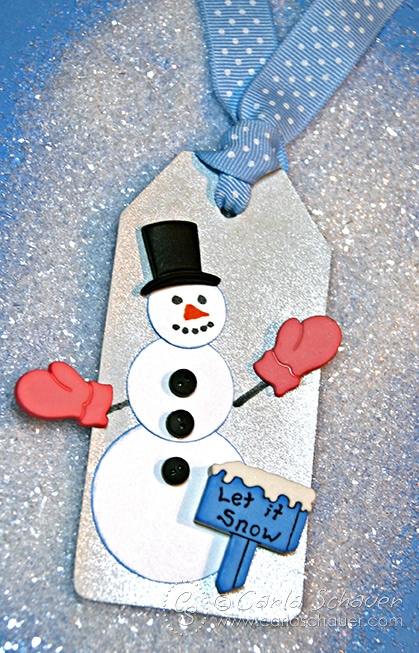 Quick winter snowman gift tag with buttons from Carla Schauer Designs