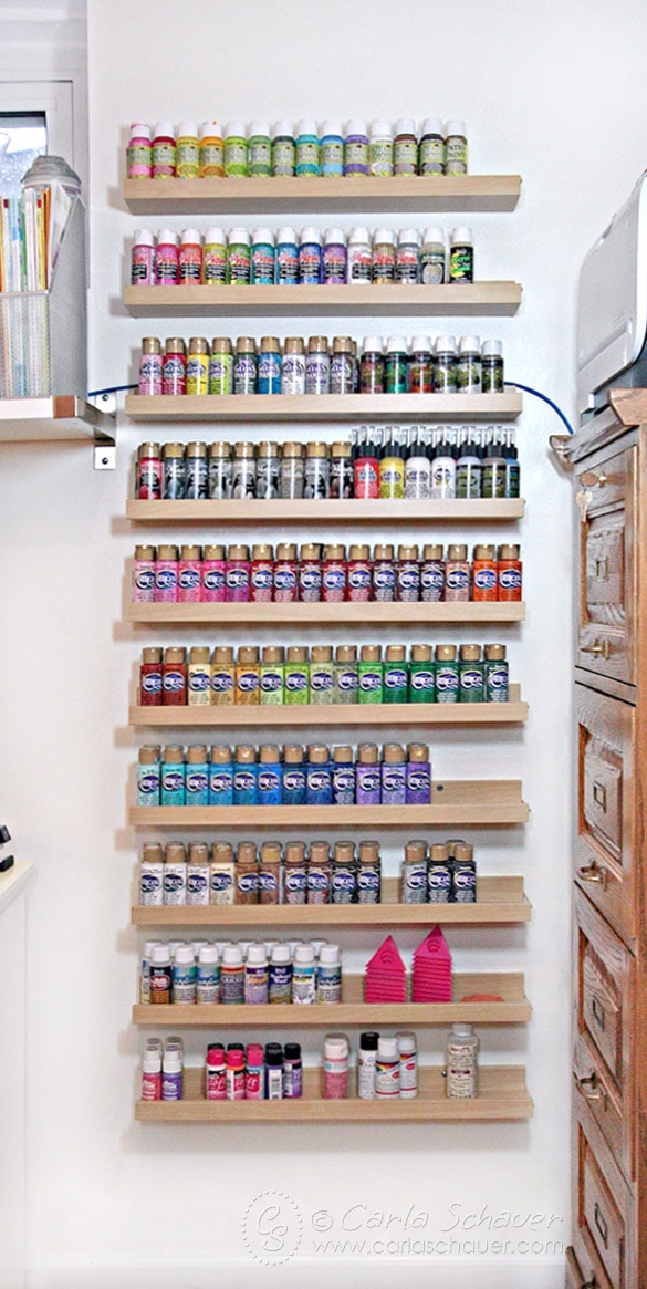 Acrylic Paint Storage Shelves Using Ikea Ledges. | Carla Schauer Studio