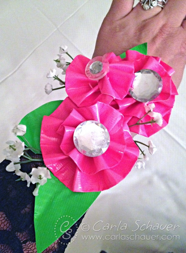 Duck Tape corsage for 80s prom by Carla Schauer Designs