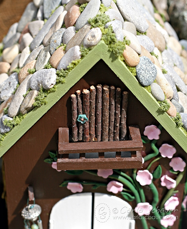 DIY Fairy House Balcony. Make your own fairy house using this tutorial. | Carla Schauer Designs