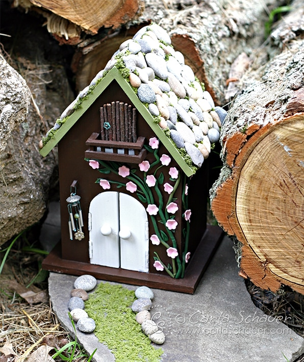 diy fairy house carla schauer designs. Black Bedroom Furniture Sets. Home Design Ideas