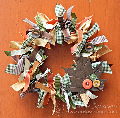 Tied Fall Ribbon Wreath on orange background