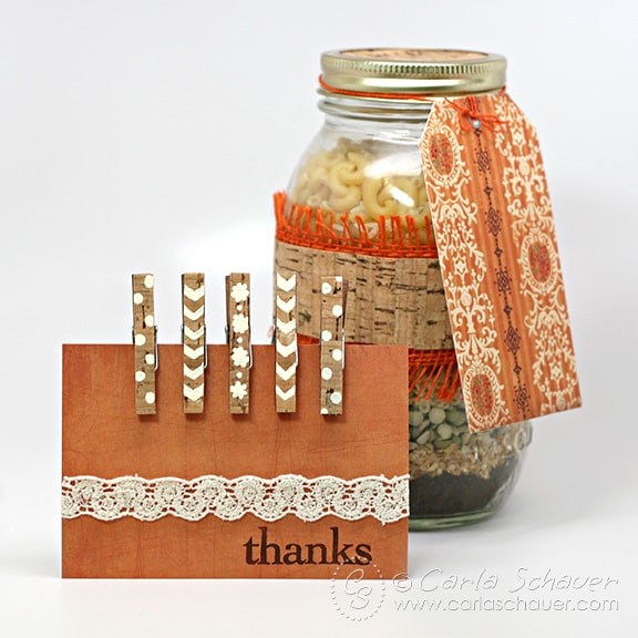 Clothespin magnet & layered jar set tutorial from carlaschauer.com blog.