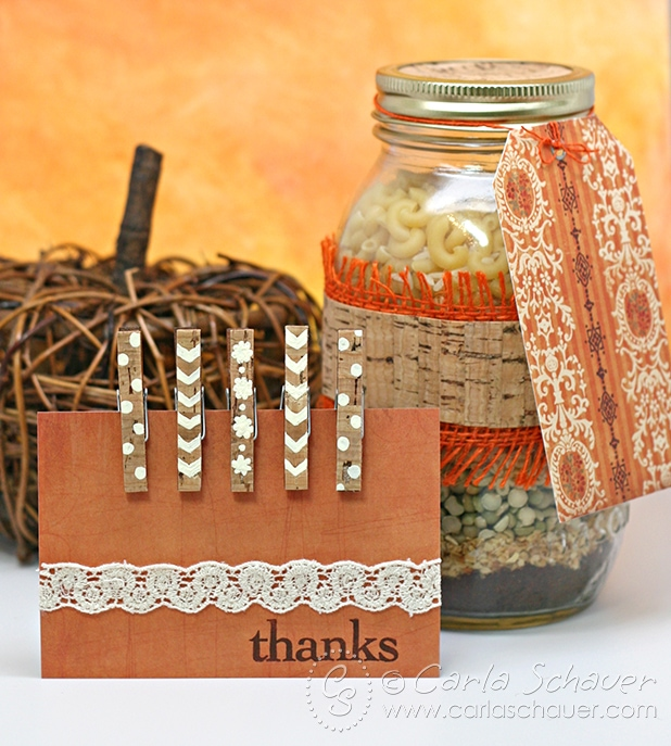 Painted mini clothespin magnet set and layered soup in a jar gift set from Carla Schauer Designs.