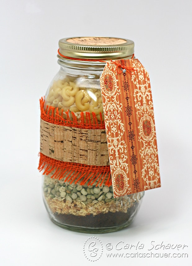 Embellished layered soup mix in a jar from carlaschauer.com blog.