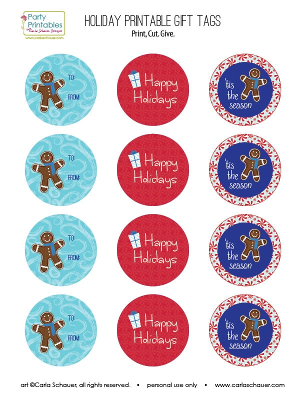 picture relating to Printable Holiday Tags identified as Absolutely free Printable Getaway Present Tags Carla Schauer Ideas
