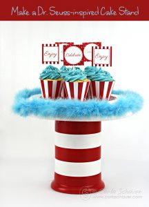 Make this cute DIY Dr. Seuss-inspired cake stand with this tutorial from carlaschauer.com