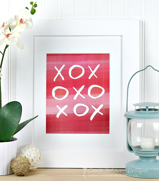 Pink watercolor valentine printable from Carla Schauer Designs on Etsy.