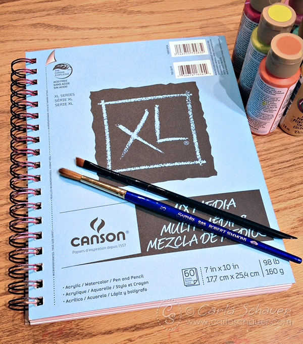 Start an art supply experiment notebook. Follow along with Carla Schauer Designs and experiment with some new supplies you've been wanting to try.