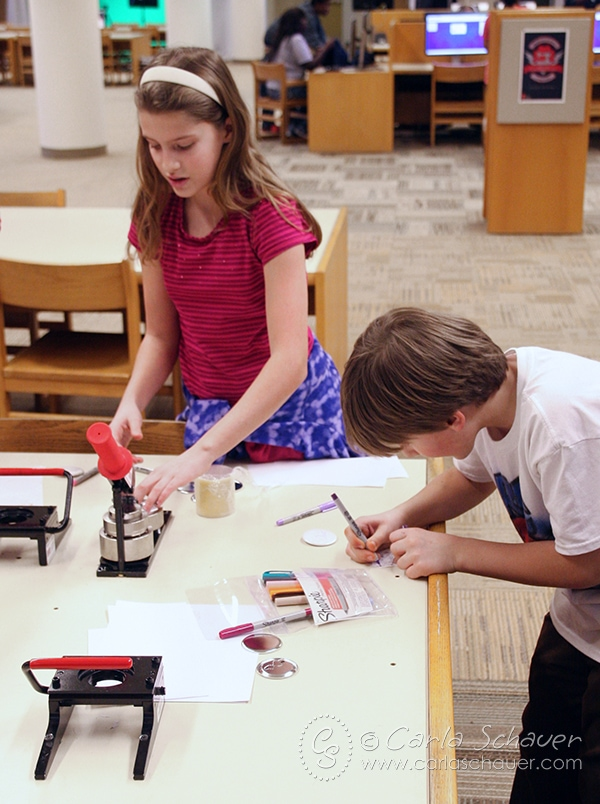 Cincinnati Library MakerSpace Button Machine. A creative family field trip.
