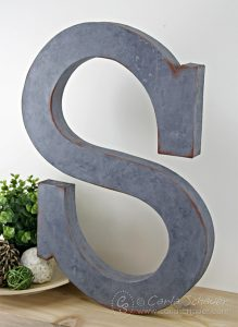DIY Industrial Faux-Metallic Monogram Letter