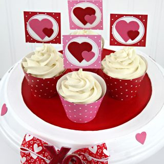 Adorable Valentine party using Stripes and Dots printable party kits from Carla Schauer Designs.