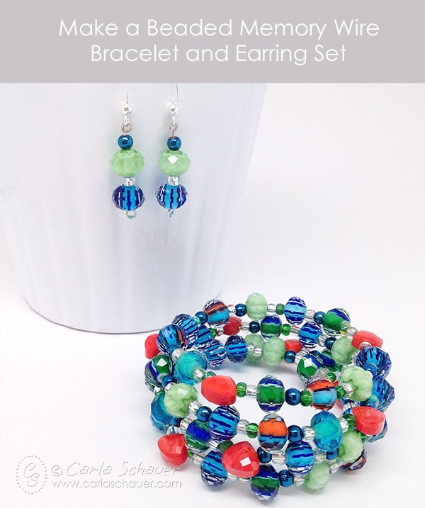 Beaded Bracelet and Earring Set by Carla Schauer. Tutorial at carlaschauer.com