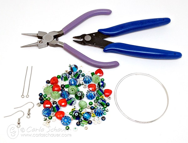 Supplies needed to make a memory wire bracelet and earring set. Tutorial from Carla Schauer Designs at carlaschauer.com.