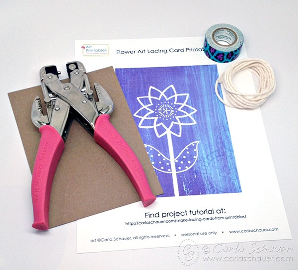 Learn to make easy DIY lacing cards from repurposed printables. Lacing card tutorial from Carla Schauer Designs.