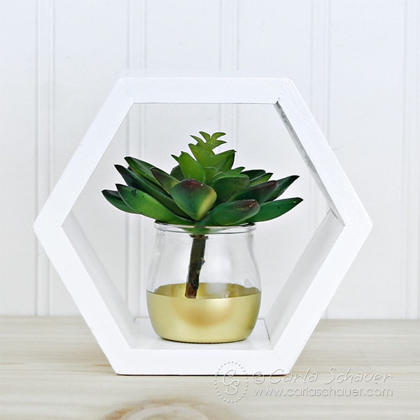 DIY Modern Hexagon Succulent Planter.  Make at home using this easy tutorial. |Carla Schauer Designs