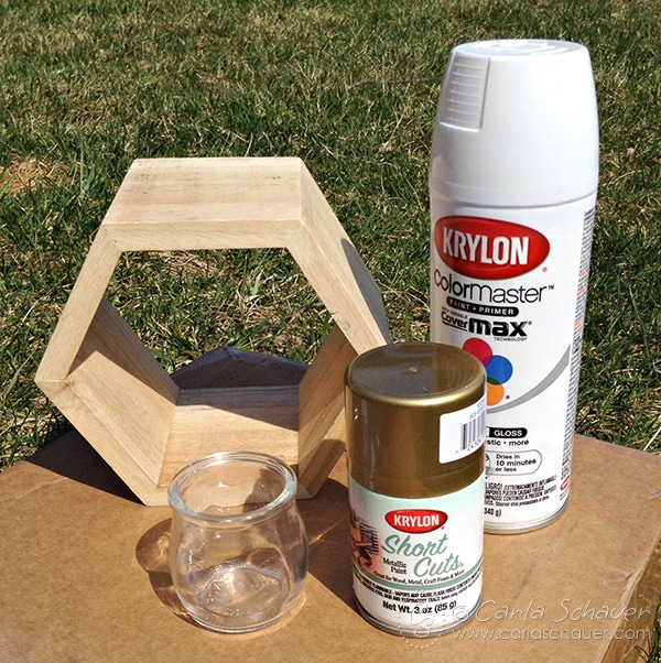 Supplies for modern hexagon succulent planter.  Complete DIY tutorial on carlaschauer.com.