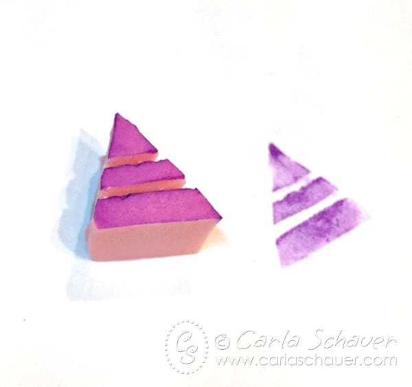 Hand-Carved Triangle Stamp from Art Experiment series by Carla Schauer Designs
