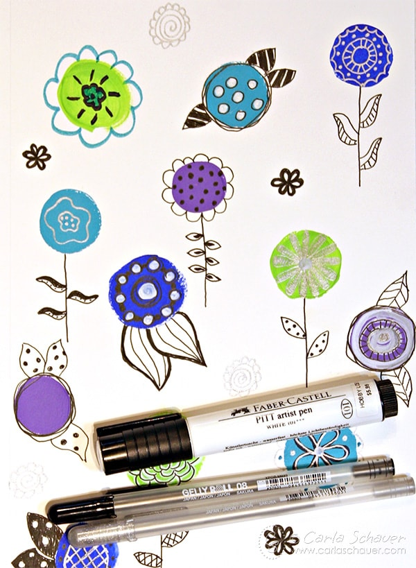Use leftover acrylic paint and pen to practice skills. Part of the art experiment series from Carla Schauer DesignsCarla Schauer Designs