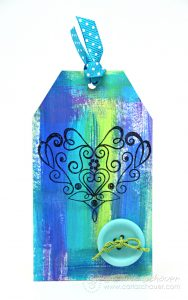 Acrylic painted gift tag using leftover paint. Art experiment series from Carla Schauer Designs.