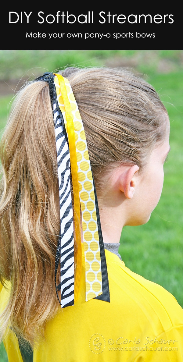 Make streamer-style hair bows for fastpitch softball or other sports using this easy tutorial from Carla Schauer Designs at carlaschauer.com