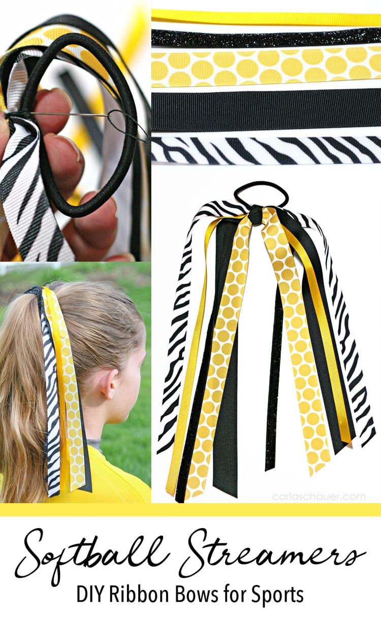Collage of yellow, black, and white ribbon hair bows, with text at bottom for pinning