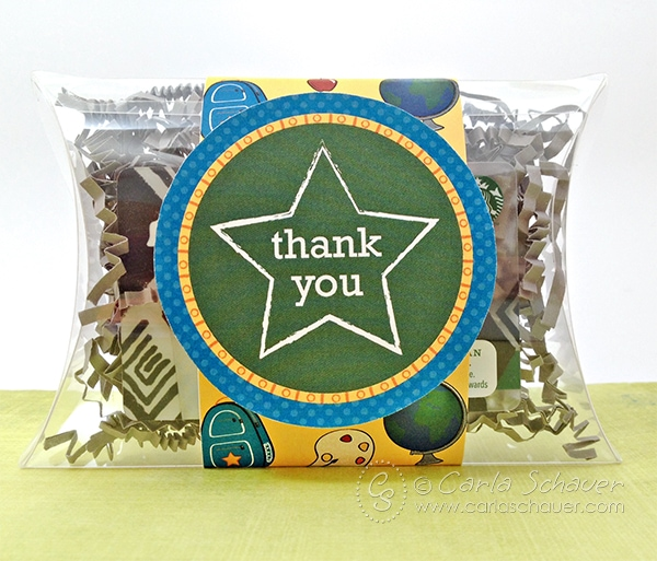 Teacher appreciation gift card holder, using free printable wrap and tags from carlaschauer.com