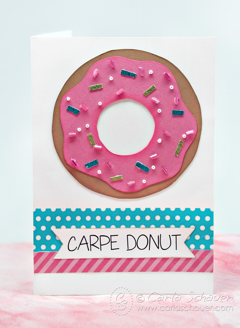 Donut-themed thank you card tutorial.  Super-cute! | Carla Schauer Designs