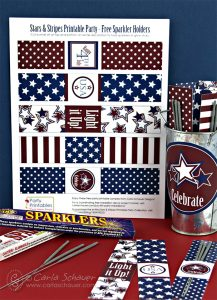 Make July 4th Sparkler Holders. These free printables from Carla Schauer Designs coordinate with another free printable patriotic project, and a full Stars & Stripes printable party!