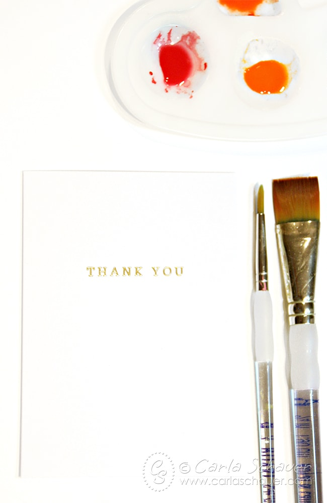 Personalize plain thank you notes with watercolors. |Carla Schauer Designs