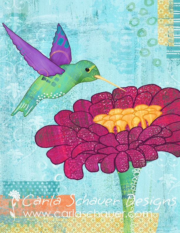 Morning Muse Hummingbird Art|copyright Carla Schauer