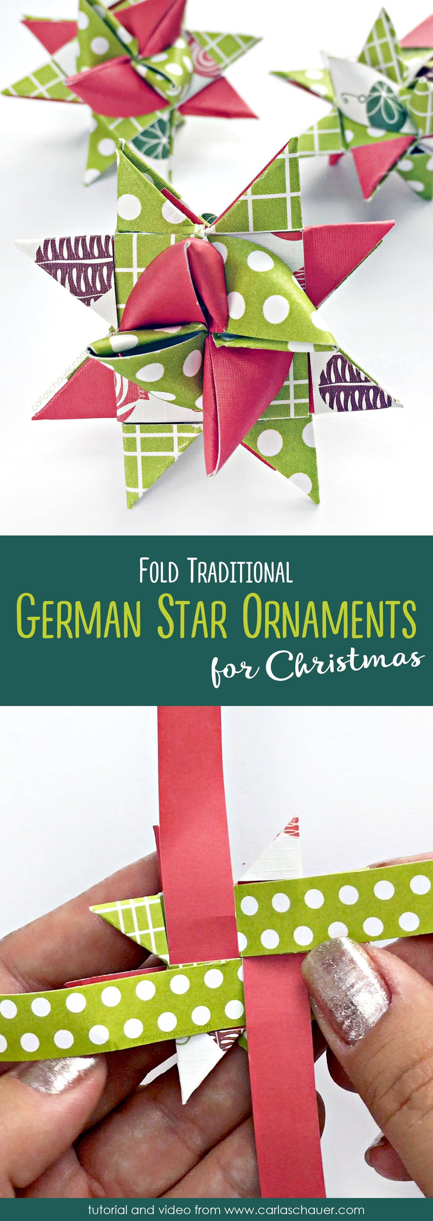 These are so pretty! How to Make German Star Ornaments. An easy to follow tutorial and video from carlaschauer.com