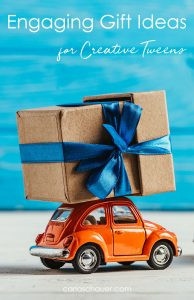 Orange toy car carrying gift with text overlay for pinterest.