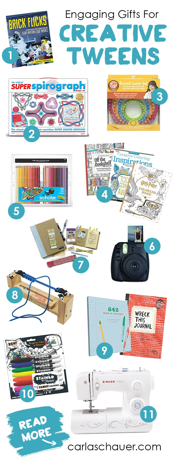 "Shop for engaging gifts for creative tweens with this gift guide from Carla Schauer Designs at carlaschauer.com. Great ideas for more ""grown-up"" supplies that tweens can use for a long time."