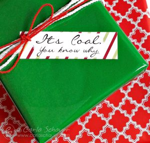 Free funny holiday gift tags from Carla Schauer Designs at carlaschauer.com