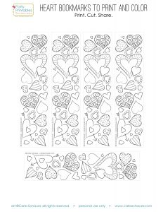 Printable Valentine Coloring Bookmarks