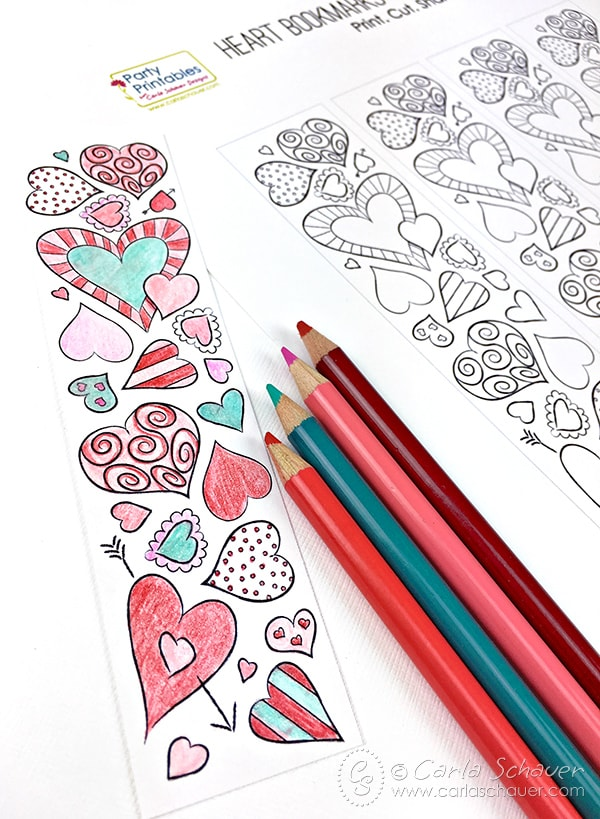graphic relating to Cute Bookmarks Printable identified as Valentine Centre Bookmarks in the direction of Print and Coloration Carla Schauer