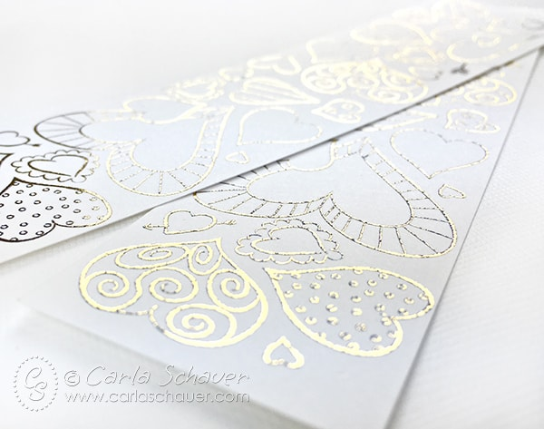 Printable valentine heart bookmarks with gold foil added. |Carla Schauer Designs