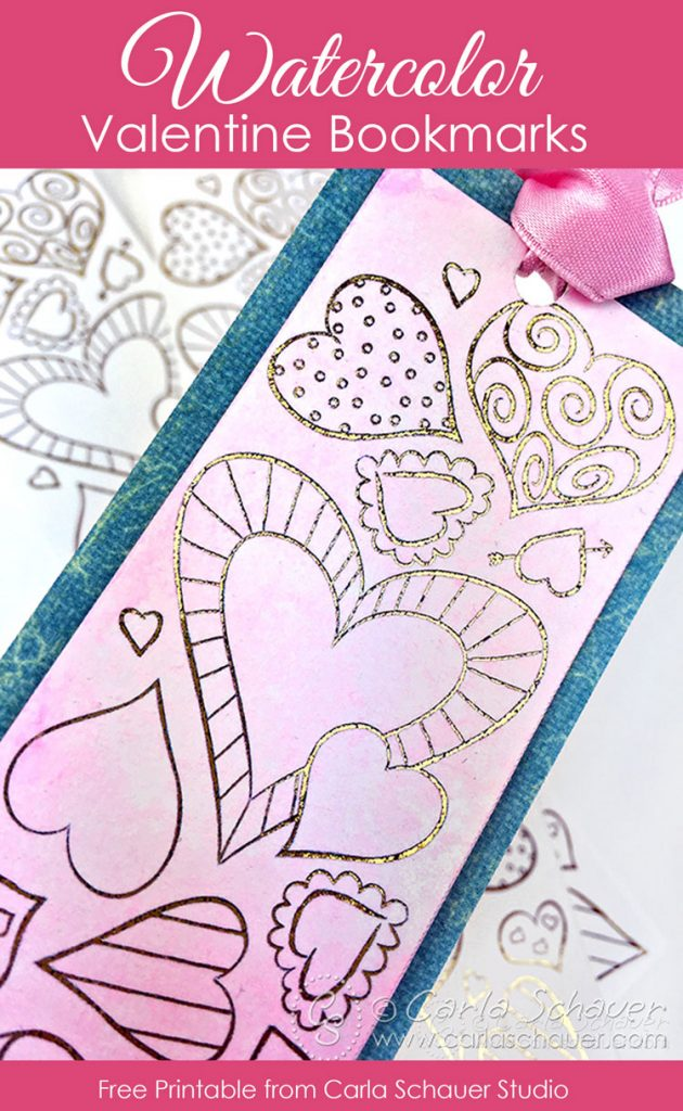 Watercolored printable heart bookmark on white background with text for pinning.