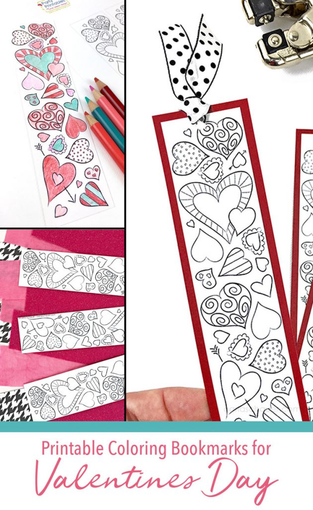 """Collage of heart bookmarks to color, with text under images that reads """"Printable coloring bookmarks for Valentines Day"""""""