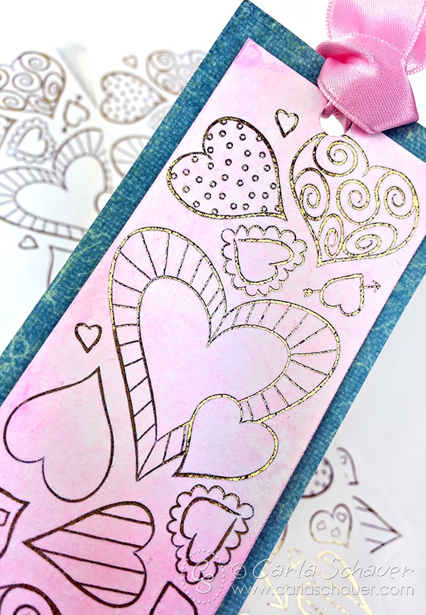 Watercolored Valentine heart bookmark with gold foil added. Printable heart bookmark from carlaschauer.com